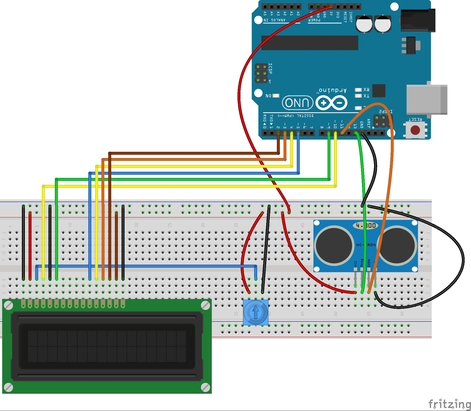 Lesson 20 Arduino Lcd Project For Measuring Distance With 19 Inch Monitor Power Supply Schematic Circuit Diagram