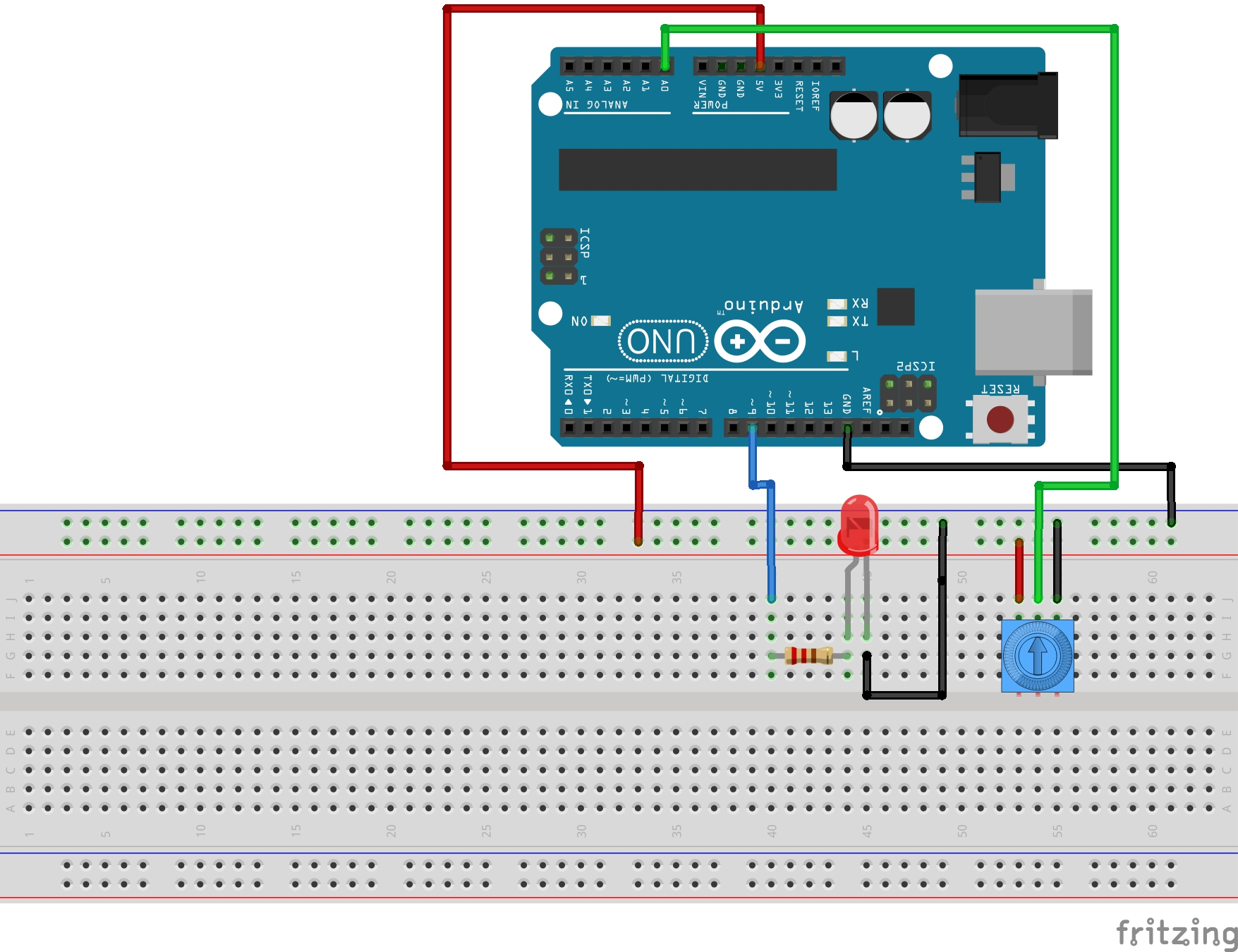 lesson 11 arduino circuit to dim led with potentiometerled arduino circuit